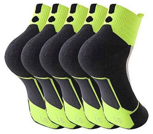 Men Elite Basketball Crew Socks,Mens Athletic Cushioned Crew Socks,Mens Basketball Compression Ankle Socks (Fluorescent Green)
