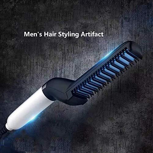 NO BRAND Plancha Peine Cepillo alisador de Cabello eléctrico, alisador de Pelo, Adecuado para la embellecer Barbas y Peinados de Hombres DIY Modelado Flexible