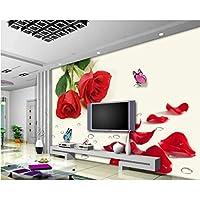 Iusasdz カスタムウェディングウォール装飾壁紙レッドローズフラワーバタフライウォータードロップテレビウォール3D壁紙-120X100Cm