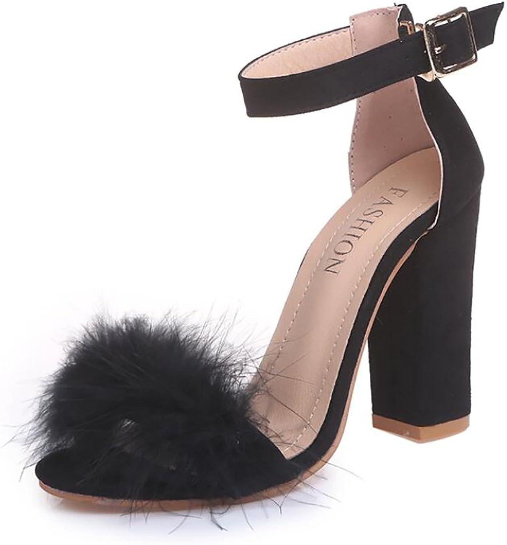 Summer Casual Sandals High Heel Suede Slipper Plush Buckle Comfortable Women's Fashion Sandals