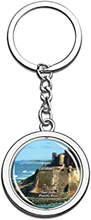 Hqiyaols Keychain San Juan National Historic Site Puerto Rico Souvenirs Crystal Spinning Round Stainless Steel Key Chain Ring Travel City Gifts Metal