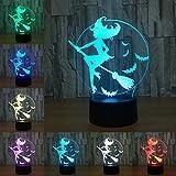 Halloween Bat Witch Broom 3D Acrílico Color LED Noche Noche Lámpara Lámpara de dormitorio Sala de estar Decoración ligera Touch LED Lámpara 3D