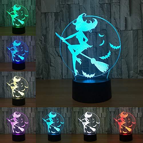 LPHMMD nachtlampje halloween vleermuis heks bezem acryl 7 kleur veranderen 3D LED nachtlampje slaapkamer lamp woonkamer licht decoratie Touch 3D LED lamp