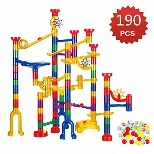 WTOR 190Pcs Marble Run Sets STEM Toys for Kids Boys Girls, Educational Learning Marble Building Blocks Girl Boy Toy Gift for Kids Children (168 Translucent Plastic Pieces + 22 Glass Marbles)