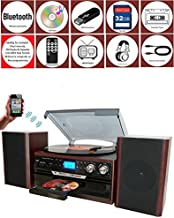 Boytone BT-24DJM Bluetooth Classic Style Record Player Turntable with AM/FM Radio, CD/Cassette Player, 2 Separate Stereo Speakers, Record from Vinyl, Radio, and Cassette to MP3, SD Slot, USB, AUX.