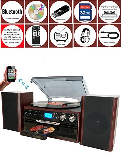 Boytone BT-24DJM Bluetooth Classic Style Record Player Turntable with AM FM Radio, CD Cassette Player, 2 Separate Stereo Speakers, Record from Vinyl, Radio, and Cassette to MP3, SD Slot, USB, AUX.