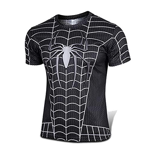 T-Shirt Compression pour Hommes Spiderman Movie Print Superhero Running sans Couture Sport Serré À Séchage Rapide Fitness Manches Courtes Exercice T-Shirts Adultes,Black-L (165~175CM)