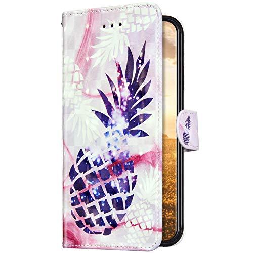 Uposao Kompatibel mit Samsung Galaxy A01 Hülle Schutzhülle Leder Hülle Glänzend Bling Glitzer Muster Vintage Handyhülle Tasche Klapphülle Wallet Flip Case Ständer Kartenfächer,Ananas