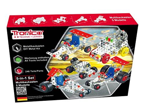 TRONICO Metallbaukasten 5 Modelle 5-in-1 Autos Konstruktionsspielzeug Mint STEM Modellbau Bauen mit Werkzeug