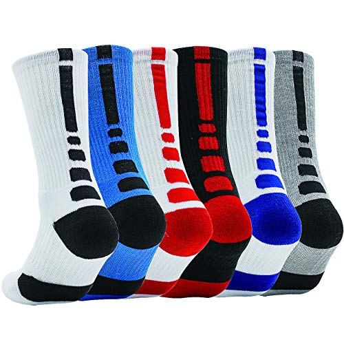 DILIBA Women's Crew Socks Dry Dri-Fit Mid-Calf Non Sweat Softest Thick Colorful Mens Athletic Basketball Workout Outdoor Camping Elite Socks 6 Pair