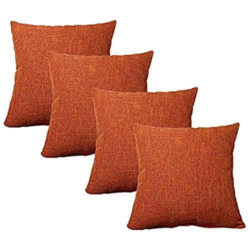 YRWL Juego de 4 cojines cuadrados de lino y algodón de polipropileno, decoración para el sofá, la oficina en casa, el coche, E 50 x 50 cm