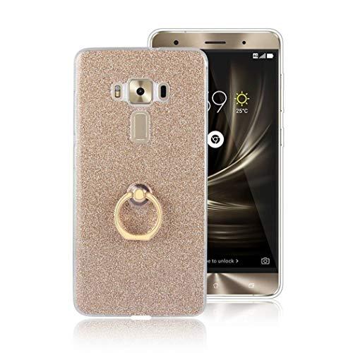 Ycloud Soft Silikon TPU Hülle für Asus ZenFone 3 Deluxe ZS570KL Smartphone, Funkeln Glitzer Handyhülle mit Ring-Schnalle Ständer Entwurf Ultra Slim Back Cover (Golden)