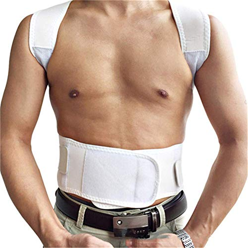 XJZHAN Haltungskorrektur-Rückenstreben Schulterstützgürtel Bequeme, atmungsaktive Buckelkorrekturgürtel,Weiß,XL