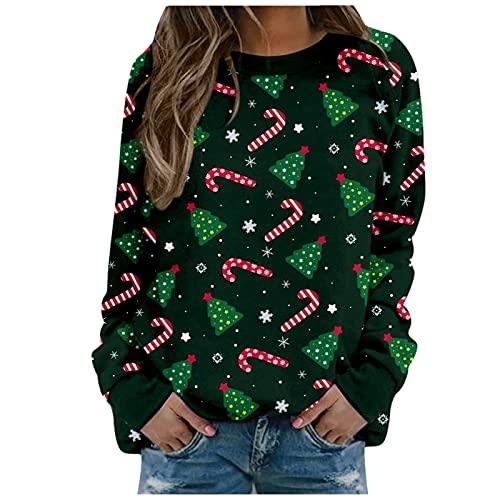 Damen Lässiges Sweatshirt Lässige Bluse Pullover Oberteile T-Shirt Weihnachtsdruck Gedruckte Casual Sweatshirt Tops Lässige Bluse Pullover Sweatshirt