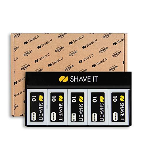 Amazon Exklusiv - Shave It One Rasierklingen für Rasierhobel, 10er Pack (10 x 10 Rasierklingen=100 Stück)