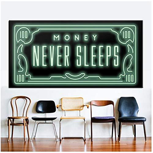 YANGMENGDAN Money Never Sleep HD Canvas Nordic Print Quote Letter Money Art Home Decor Wall Art Painting Print On Canvas Office Art Culture-60x120cm Sin Marco