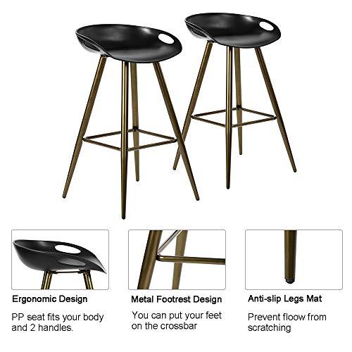 FurnitureR Conjunto de 2 taburetes de Bar Modernos contemporáneos sin Brazos de Altura Fija, Asiento de…