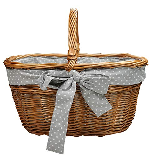 khevga Einkaufskorb aus Weide Weidenkorb mit Schleife groß