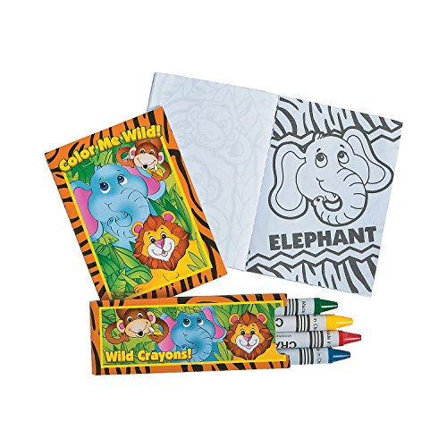 Mini Zoo Sarfari Animal Coloring Book and Crayon Sets - 12 Books and 12 Boxes of Crayons - Party Favors, Daycare and Classroom Supplies