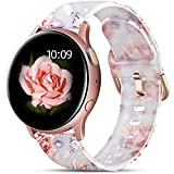 GEAK Floral Bands Compatible with Samsung Active 2 Watch Band/Galaxy Watch 4 Band 40mm 44mm/watch 4 classic band, 20mm Silicone Bands for Samsung Galaxy 42mm/Galaxy Watch 3 41mm Band Women Pink Flower