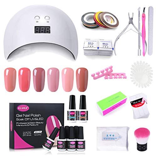Clavuz Lámpara UV LED 24w, Esmaltes Semipermanentes en Gel UV LED 6 Colores con Base Coat y Top Coat, Secador de Uñas con Accesorios 002