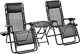 DFGWS Set da 2 Sedia Sdraio a Dondolo Ergonomica Reclinabile,Sedie a Sdraio Zero Gravity con tavolino Poggiapiedi e Porta Bicchieri da Giardino Textilene - 163 x 65 x 110 cm (L x l x H) Black