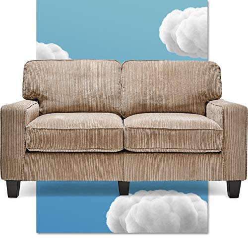 """Serta Palisades Upholstered Sofas for Living Room Modern Design Couch, Straight Arms, Soft Fabric Upholstery, Tool-Free Assembly, 61"""" Loveseat, Beige"""