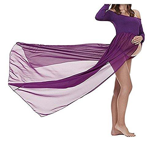 Faith Wings Modern Pregnant Women Photography Props, Faldas fotográficas de Maternidad (M, Morado(Manga Larga))