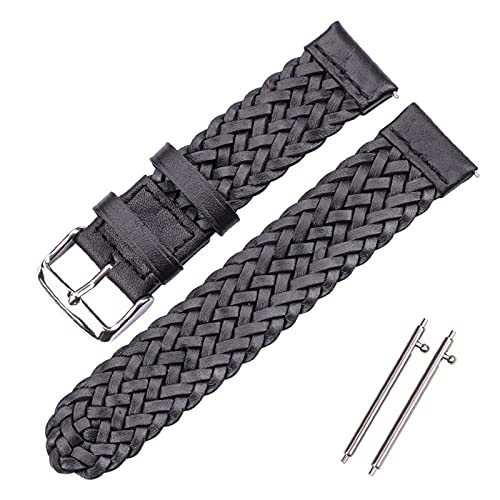 HANLILI kasu Cowhide Wamkband 22mm 24mm Mujeres Hombres Moda Weave Genuine Leather Watch Band Strap Fit para Samsung Galaxy 46mm Gear S3 (Band Color : Black, Band Width : 22mm or S3)
