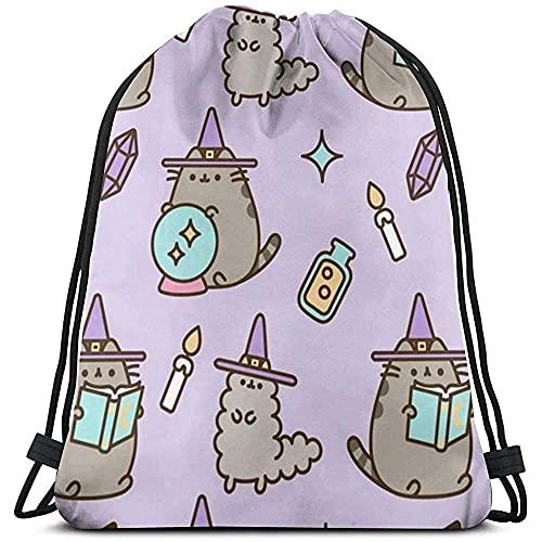 XJMY Rucksack mit Kordelzug, Sporttasche, Sporttasche, Turnbeutel für Damen und Herren, Pusheen Cat Farbe