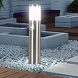 LED Außen Stand Sockel Leuchte Edelstahl Steh Lampe Garten Beleuchtung im Set inklusive LED-Leuchtmittel