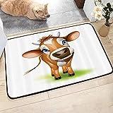 JISHENG Badezimmerteppich rutschfest - Weiche Badematte,Baby, Digital komponierte Kuh mit bezauberndem Tiermotiv,Badvorleger, Microfaser Badeteppich, 45x75 cm