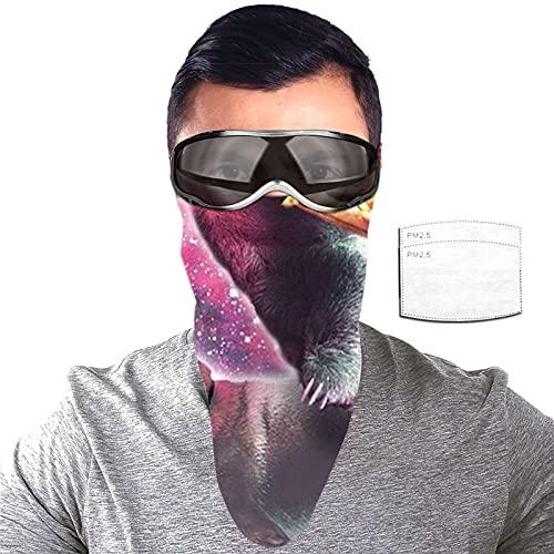 ZORIN Space Sloth With Pizza Riding Pug Taco Protección solar Bandanas Cara Bufanda Máscara con 2 Filtros Polaina Cuello