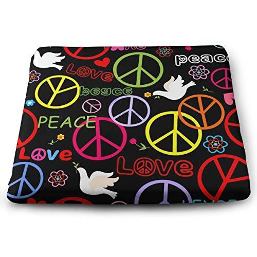Memory Foam Pad zitkussen. Autostoel Kussens om hoogte te verhogen - bureaustoel Comfort Kussen - Hippie Peace Paddestoel Kleurrijke Trendy
