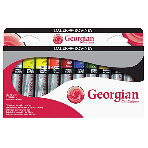 Daler Rowney Georgian - Juego de pinturas al óleo (10 unidades, 25 ml), 10 Colores Surtidos