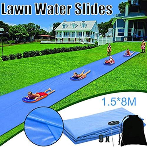 Gebuter Lawn Water Slide for Kids Courtyard Summer Lawn Slip Slide with Splash Sprinkler and Inflatable Crash Pad