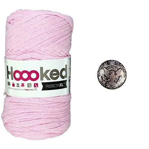 Hoooked RIBBONXL (フックドゥ リボンエックスエル) #40 Baby pink + コンチョボタン (鳥) 30mm セット