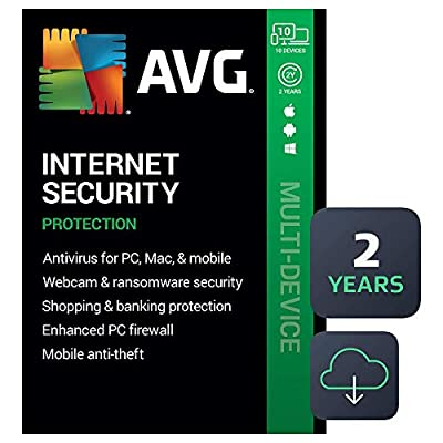 AVG Internet Security 2020 | Antivirus Protection Software | 10 Devices, 2 Years [PC/Mac/Mobile Download]