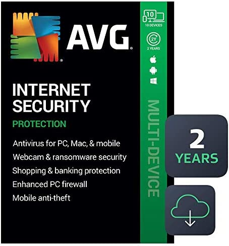 AVG Internet Security 2021 Antivirus Protection Software 10 Devices 2 Years PC Mac Mobile Download product image