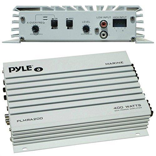 PYLE PLMRA200 amplificatore marino uso nautico 200 watt rms 400 watt max a 2 canali barca piscina gommone imbarcazioni interno esterno locali all'aperto ingressi rca e ad alto livello
