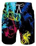 Spreadhoodie Fumo Costume da Bagno Uomo, 3D Colorato Calzoncini da Bagno Pantaloncini da S...