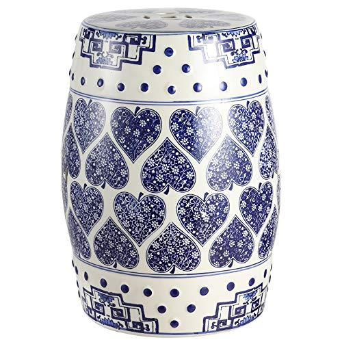 "Jonathan Y TBL1014A Happy Hearts 17.8"" Chinoiserie Ceramic Drum Garden Stool, Blue/White -  happimess"