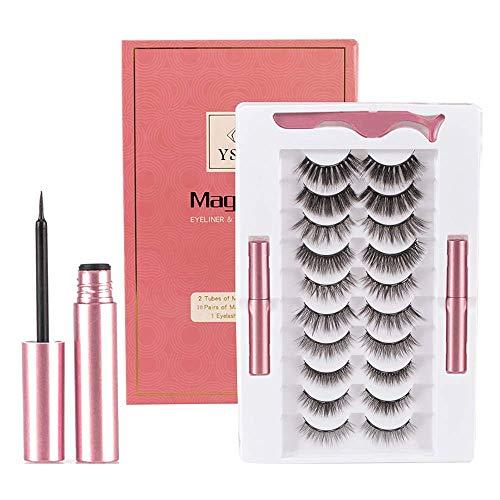 YSURE Magnetic Eyelashes Kit, 10 Pairs 3D Reusable Magnetic Lashes, Natural Looking False Magnetic Eyelashes with 2 Eyeliner and 1 Eyelash Applicator