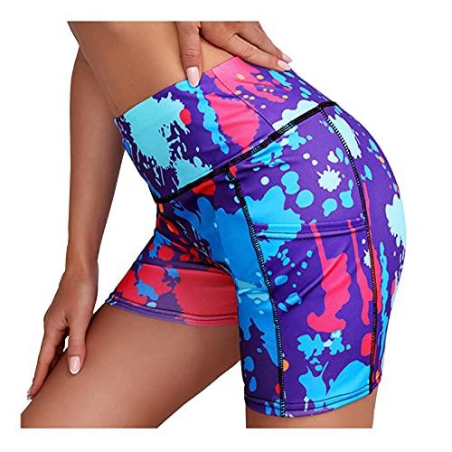 Leggins de Mujer con Impresión Colorida Pantalón Corto Deporte Mujer Cintura Alta Elegante Shorts Deportivos Suave y Transpirables Leggings Mujer Fitness Pantalones Mujer Verano Casual para Yoga