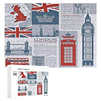 ロンドンイギリステーマランドマークとフラグ 300ピースのパズル木製パズル大人の贈り物子供の誕生日プレゼント