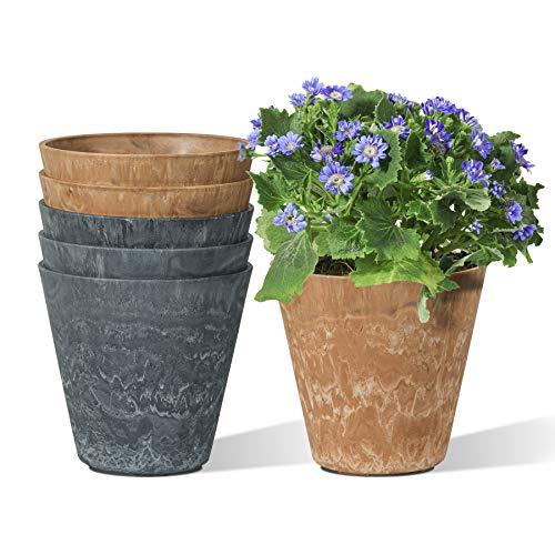 T4U Blumentopf aus Kunststoff, 14x14cm Übertopf 6er Set Faux Ton-Stil Schwarz und Braun, Farne blumenübertopf für Balkon, Wohnung und Terrasse