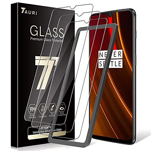 TAURI 3 Pack Protector de Pantalla para Oneplus 6t Protector Pantalla 9H Dureza Instalación fácil del Marco de alineación Resistente a Arañazos Cristal Vidrio Templado Screen Protector