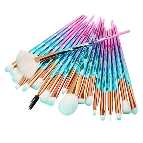 dailymall 20x Unicorn Eye Brush Set Blending Kit Makeup Make Up Lip Concealer - as described, Diamond blue Pink