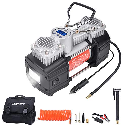 GSPSCN Portable 12V Air Compressor Pump Digital Display Tire Inflator with LED Flashlight, Heavy Duty Dual Cylinder Tire Pump 150 PSI with Locking Air Chuck for Auto,SUV,Off-Road,Truck,Bike