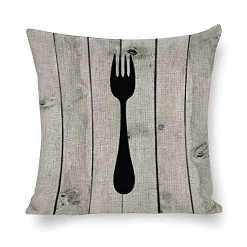 IUYG Cocina comedor arte trío impresión tenedor cuchillo cuchara arte suave microfibra almohada hogar cuadrado ornamento almohada